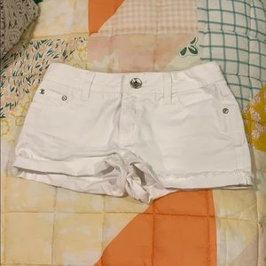 Justice white denim shorts